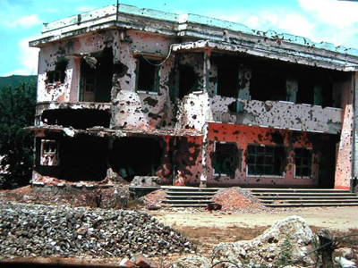 Qui Nhon Radio Station after the Tet attack of 1968. This photo was on the cover of Time Magazine.